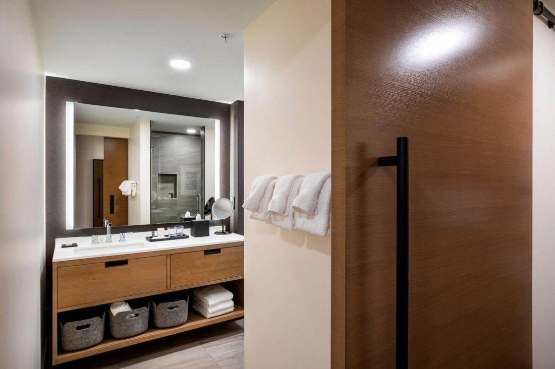View of bathroom at hotel in Minneapolis