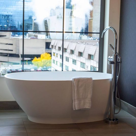 Bath tub in window of Elliot Park Hotel, Autograph Collection