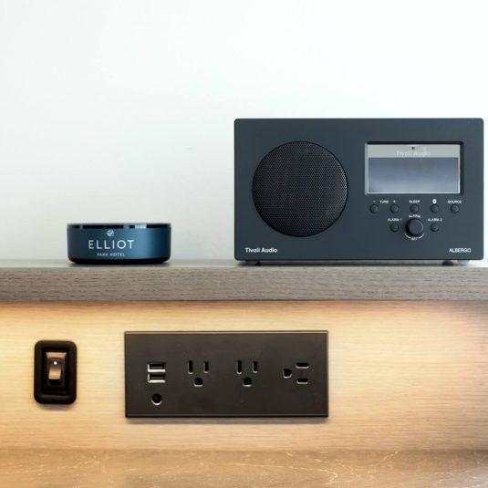 In-room Alexa and Bluetooth speaker at Elliot Park Hotel in Minneapolis