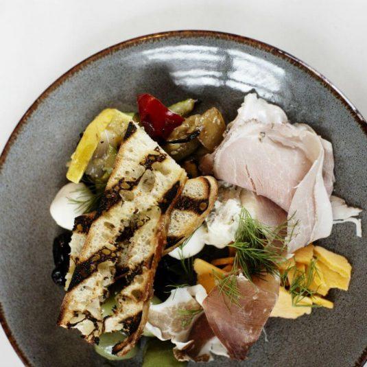 Plate of Italian food at Elliot Park Hotel in Minneapolis