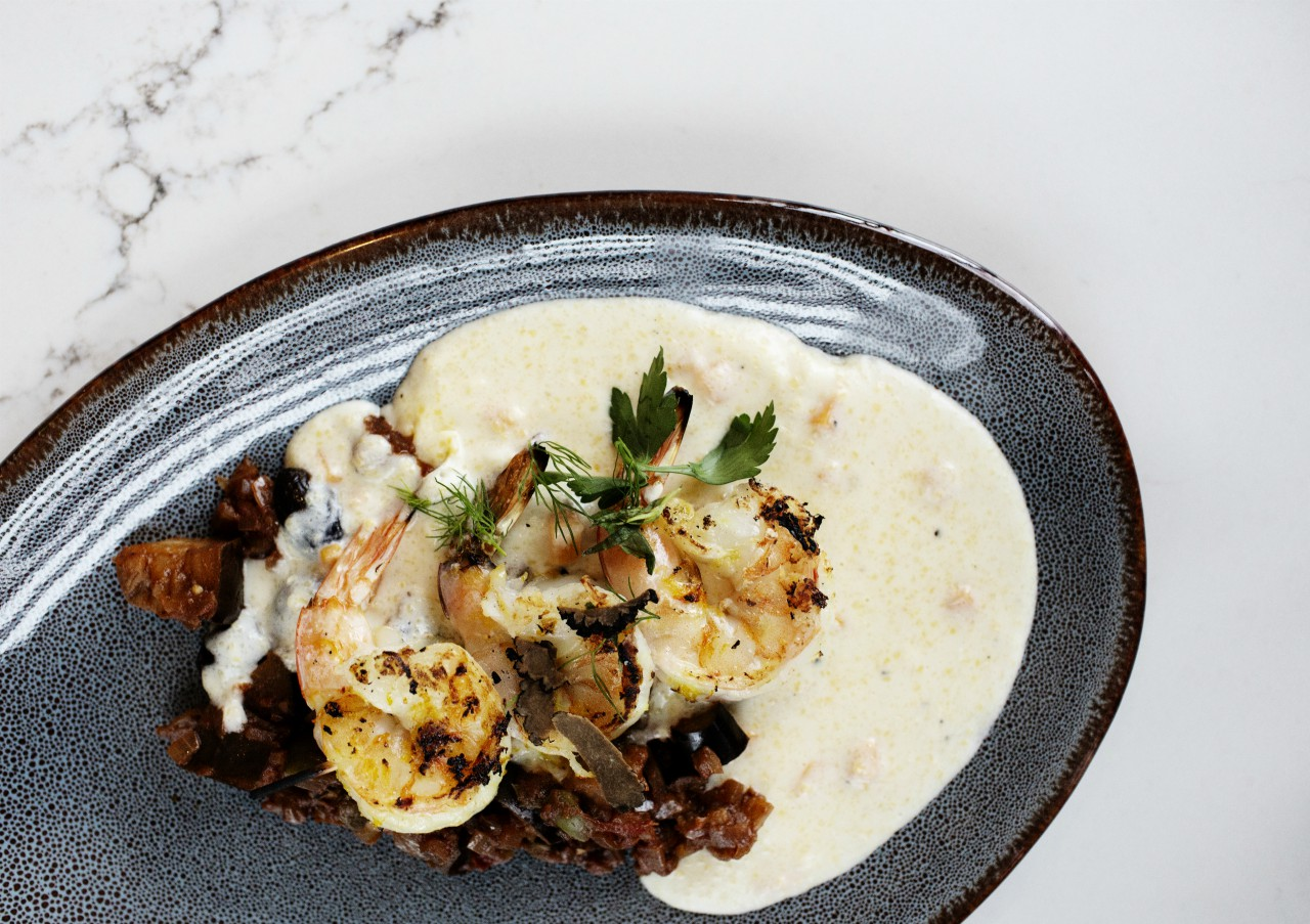 Shrimp and grits breakfast at Elliot Park Hotel, Autograph Collection