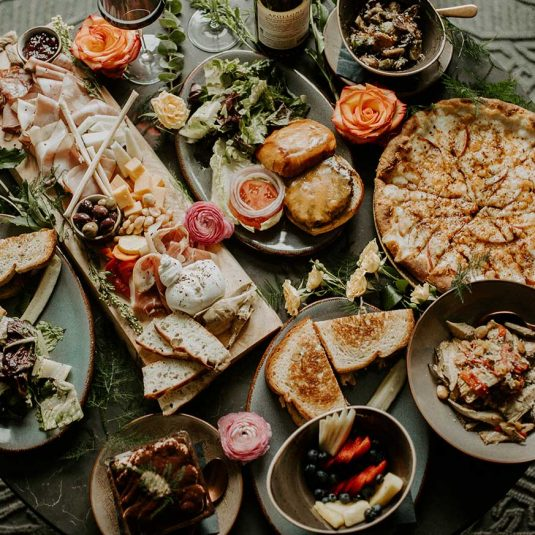 top down view of various food on circular table